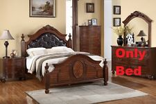Button Tuft Headboard 1 Piece Cal King Size Bed For Bedroom Cherry Wood Finish