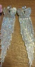 AMAZING Huge 6inch AB Rhinestone Tassle Earrings! Drag, Performer, Pageantry!!
