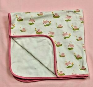 Gymboree Pink Pig Baby Blanket Girl Dancing Jumping White Cotton Lovey Security