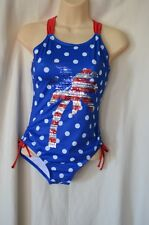 Justice Girls 14 NEW 1 Piece Swimsuit Red White Blue Palm Tree Bling Racerback