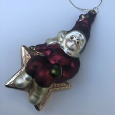 "Vintage Child Elf Sitting On Star Glass Blown Ornament Maroon Gold 6"" Christmas"