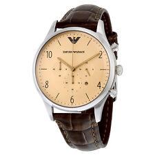 Emporio Armani Classic Cream Dial Brown Crocodile Leather Chronograph Mens