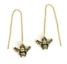 """IAJ"" 3-DIMENSIONAL GOLD gp HONEY BUMBLE BEE 14k GOLD VERMEIL Threader Earrings"