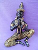 """CAST IN SOLID HOT CAST BRASS SITTING ORIENTAL FIGURE PLAYING A HORN 5 3/4"""" TALL"""