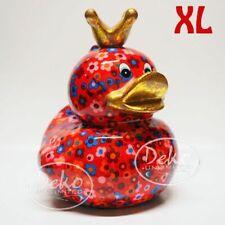 """POMME PIDOU - exklusive XL Spardose - Keramikfigur """"Ente"""" rot / Blumen"""