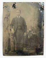 Young Man Tree Trunk & Plant Display Antique 6th Sixth Plate Tintype No Case (O)