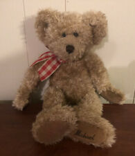 "Russ Berrie & Co Michael Teddy Bear Plush 14"" Brown Tan Stuffed Animal Bow"