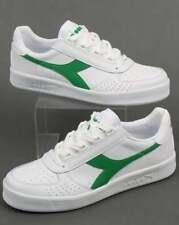 Diadora Borg Elite Trainers in White & Green - leather B Elite casual 80s 90s