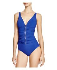 NWT $158 Profile by Gottex Blue Waterfall V-Neck One-Piece Swimsuit Womens D Cup