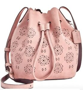 New Coach 25193 Suede Mini Bucket Bag 16 with cut out Tea Rose drawstring peony