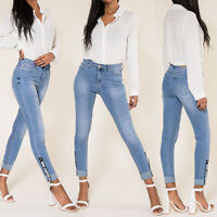 Ladies Blue Skinny  Turn Up Jeans Size 6 8 10 12 14 16