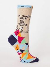 Women's Crew Socks You Crafty Bitch, Blue Q, Funny, Novelty Funny Gifts, Cotton