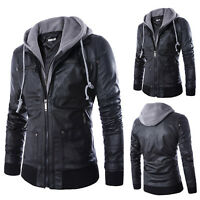 Fashion Slim Fit Hooded Men's Black Motorcycle PU Leather Jacket Coat Outerwear