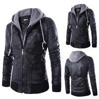 Men's Leather Hooded Jacket Winter Biker Motorcycle Hoodie Hooded Coat Outwear