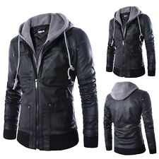Mens PU Leather Hooded Jacket Motorcycle Biker Slim Fit Zipper Coat Tops Outwear