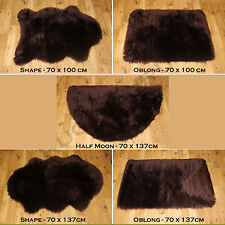 Soft Fluffy Plain Washable Chocolate Brown Colour Fake Faux Fur Sheepskin Rugs Shape 70x137cm