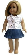 """White Vest, Pleated Skirt & White Tank Top for 18"""" American Girl Doll Clothes"""