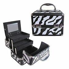 "Aluminum Makeup Organizer Bag Lock Keys Mirror Zebra 2 Trays 10"" x 8"" x 7"""