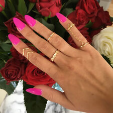 6Pcs Stacking Punk Bague Femme Rings Gold/Silver UK SHIPPING