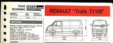 "Fiche Technique Automobile R.T.A ; RENAULT "" TRAFIC T 1100 """