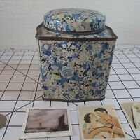 Square Tin, Designed by Damer, made in England coins tobacco cards vintage