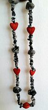 Handmade Valentine Necklace- Red hearts with snowflake obsidian stones
