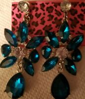 Betsey Johnson Green Dangle Earrings