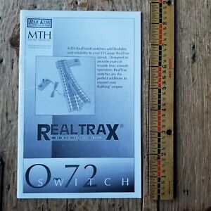 MTH RailKing Trains OPERATING INSTRUCTIONS O Gauge O-72 RealTrax Track Switches