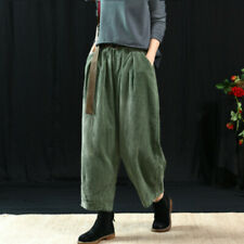 Vintage Autumn Womens Harem Casual Corduroy Pants Loose Elastic Waist Trousers