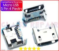 RICARICA CONNETTORE  Micro USB 5 PIN - 4 Piedini CARICA x TABLET -  SMARTPHONE