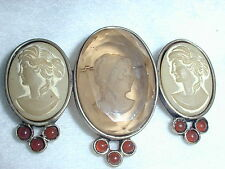 RARE! ANTIQUE DOUBLE LAVA CAMEO BROOCH WITH GLASS INTAGLIO CENTER!