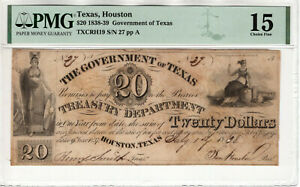 1838 $20 GOVERNMENT OF TEXAS OBSOLETE SAM HOUSTON SIGNED PMG CHOICE FINE F 15