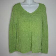 Eileen Fisher Green V Neck Pullover Sweater Chunky Knit Cotton Linen Size Small