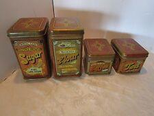 Vintage CHEINCO Tin Canisters Kitchen Set 4 Tea Coffee Sugar Flour Retro 1970's
