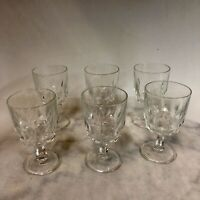"Wine Glasses Vintage Arcoroc France Clear Water Goblet Set of Six 5 3/8"" Tall"