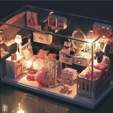 DIY Dollhouse Doll House Miniature Kit Toys Craft Kids +Glass Cover +LED Light