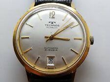 Fecha de reloj de pulsera automático de Tecnos oro plateado completamente función (K205