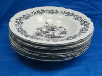 Tabletops Unlimited NEW ENGLAND TOILE BLACK Game Birds Rimmed Soup Bowl Set of 5