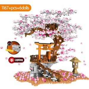Japan Sakura Street View Cherry Blossom House Tree Building Block Toys