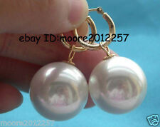 20mm Huge Round south sea white shell pearl 18K GP hoop earring