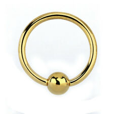9ct Solid Yellow Gold Ball Cosure Ring Piercing Hoop Cartilage Earring 1.2x8mm
