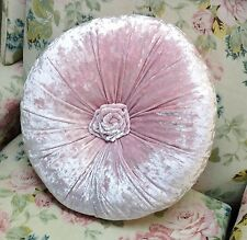 Shabby Chic French Country Cushion / Throw Pillow Pink Velvet Round With Rosette