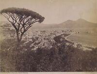 Panorama Da Napoli Italia Vintage Albumina Ca