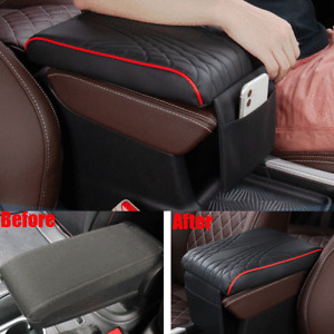 Universal Car Armrest Pad Center Console Box PU Leather Cushion Mat Black & Red