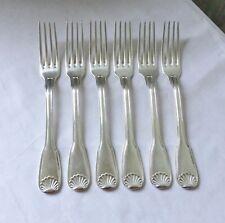 6 Fourchettes Métal Argenté Poinçon ERCUIS Modèle COQUILLE 20,5 cm Couvert Table