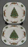 Set (2) Johnson Brothers VICTORIAN CHRISTMAS PATTERN Salad Plates ENGLAND
