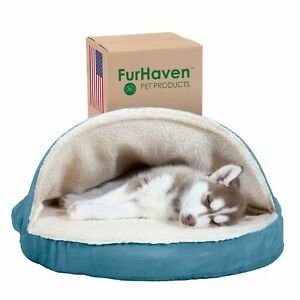 Furhaven Pet Beds for Dogs and Cats - Snuggery Orthopedic Dog Bed with At... New