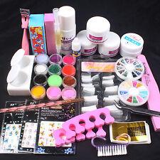 Pro Acrylic Powder Liquid French Tips Nail Sticker Brush Glue Nail Art Kits Set