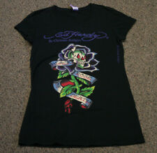ED Hardy Womens T-shirt Black Rose Of Death T-Shirt Black Medium