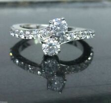 Forever Us Two Stone Round Diamond 0.86Ct Solitaire Ring In 14K White Gold